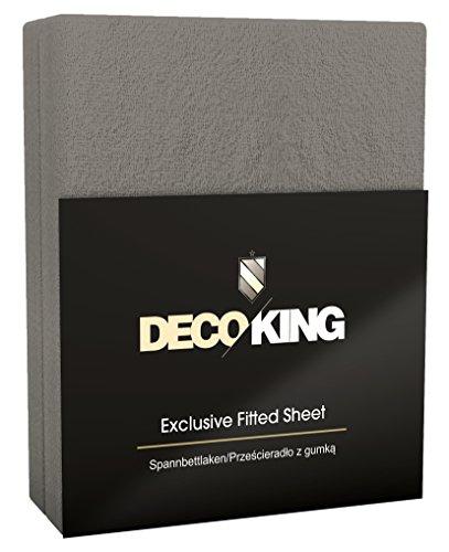 DecoKing 38581 Spannbettlaken  180 x 200 - 200 x 220 cm Frottee Baumwolle Spannbetttuch, dunkelgrau