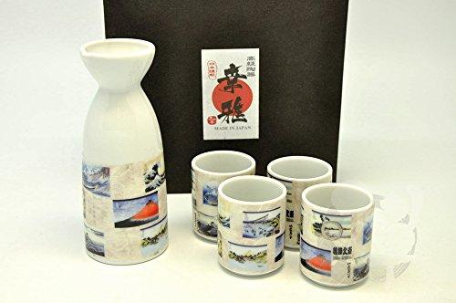 Japanese Mino Yaki Tokkuri Sake cup Sake Set 5pc 5.5 / 5.5 / 13.9cm (2.1 / 2.1 / 5.4inch)[7071] by zenjapanstyle