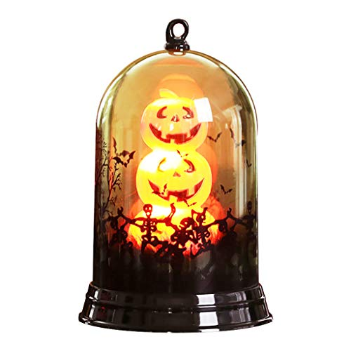 Shan-S Halloween Glass Decoration,Happy Halloween Small Lampshade Pumpkin LED Lights Decoration Home Furnishing Holiday Party Gifts for Indoors and Outdoor Atmosphere