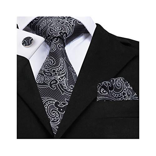 Black Paisley Ties for Men Silk Necktie Set Pocket Square (Paisley Silk Belt)