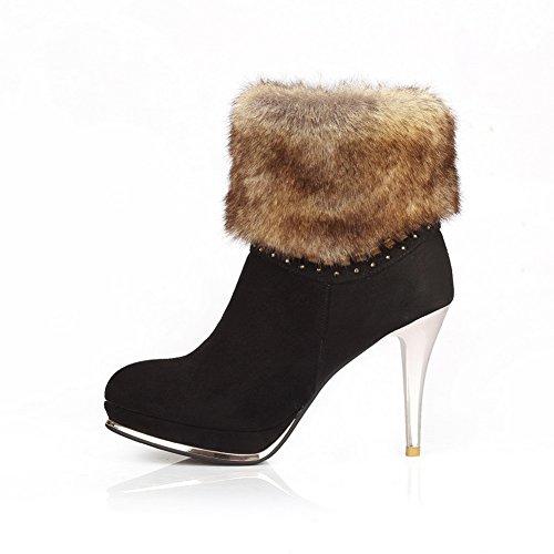 A&N Girls Stiletto Fur Collar Zipper Cow Imitated Suede Boots Black G8FKRi9o