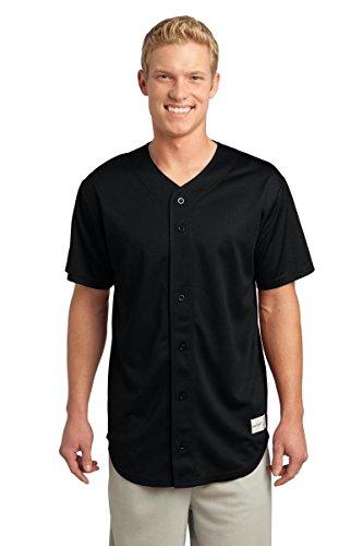 S/s Full Button Jersey (Sport-Tek Men's PosiCharge Tough Mesh Full Button Jersey S Black)