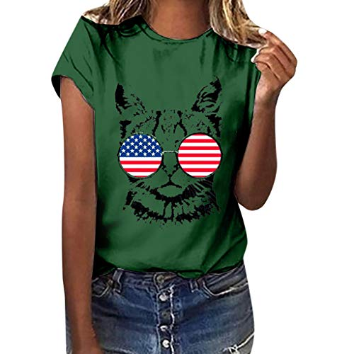 WILLBE Women Blouse American Flag Cat Print Tees Shirt Short Sleeve Top Fashion Independence Day Flag Print T-Shirt Green ()