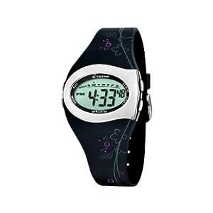 Calypso K5522/3 - Reloj digital de mujer de cuarzo con correa de goma negra (luz, cronómetro, alarma) - sumergible a 50 metros