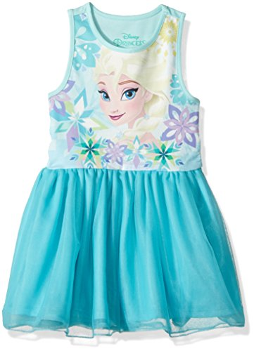 Disney Toddler Girls' Frozen Elsa Ruffle Dress, Torq, 6x