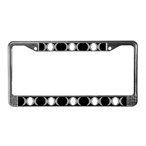 (Dwi24isty License Plate Frame Triple Goddess Moon Symbol Chrome Car Tag Holder US Size 12×6 Inches)