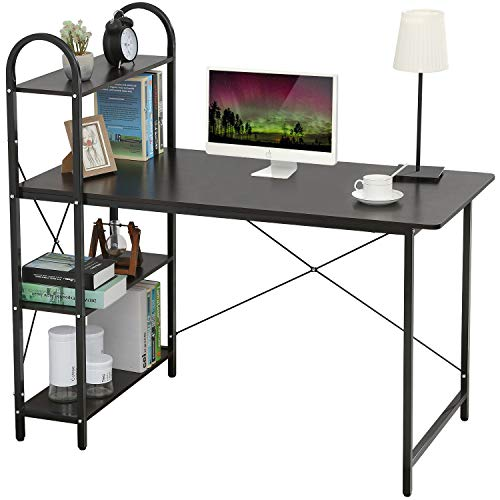 HOME BI Study Desk, Home Office Computer Desk with Shelf, Wood Work-Station PC Laptop Table (White + Black)