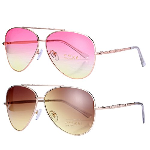 Pro Acme Aviator Style Sunglasses with Metal Frame Gradient Colored Lens UV400 Protection (2 Pairs) Gold Frame/Pink Yellow Lens + Gold Frame/Brown Gradient (Gradient Yellow Lens)