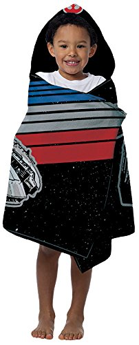 Jay Franco Disney Millennium Falcon Kids Hooded Bath/Pool/Beach Towel, Star Wars Black