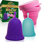 Talisi Reusable Menstrual Cups with Collapsible Silicone Foldable Sterilizing Cup Set of 3 Small Large Sizes Silicone Soft Cups with Sterilizer Feminine Hygiene Period Cup Tampon and Pad Alternative