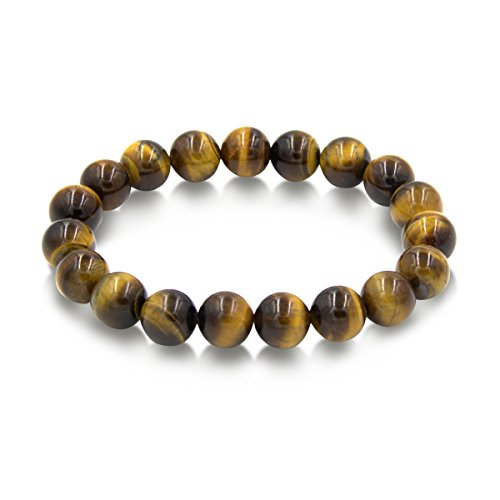 (Mojo Handmade 10mm Round Natural Semi PreciousGemstone Beaded Stretch Solid Color Bracelets (Tiger Eye) )