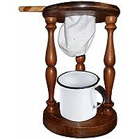 Mini Coador de Café ou Mariquinha Mancebo em Mandeira Torneada com Caneca Esmaltada - Poma Shop