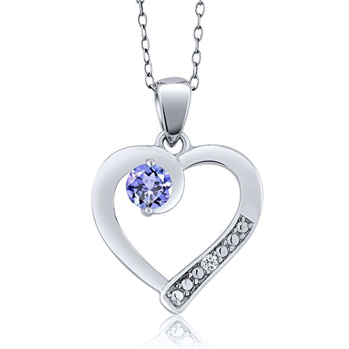 Gem Stone King 925 Sterling Silver Tanzanite & White Topaz Heart Shape Pendant (0.32 cttw, with 18 Inch Silver Chain)