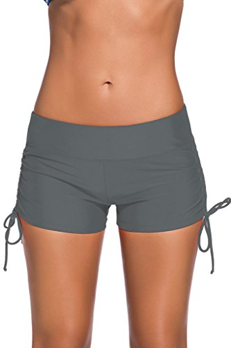 EVALESS Women's Solid Boy Leg Bikini Bottom Short Beach Swimwear Small Size Grey