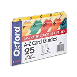 Oxford Index Card Guides with Laminated Tabs, Alphabetical, A-Z,  Assorted Colors, 5\