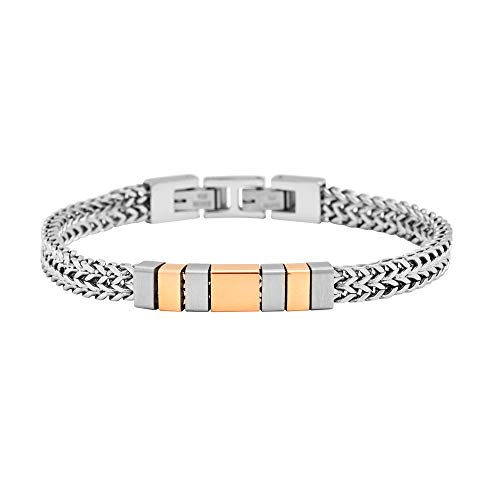 Geoffrey Beene Men's Stainless Steel Double Franco Chain Bracelet with Cut-Out ID and Extension, Silver/Rose Gold