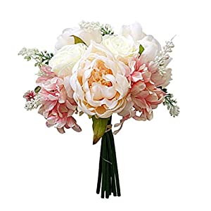 Yamalans 1 Bouquet Artificial Peony Rose Flower Lifelike Plant DIY Wedding Party Home Hotel Cafe Decor Champagne 17