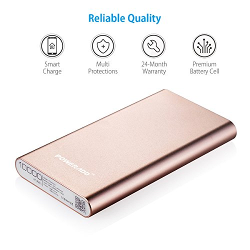 Upgraded Poweradd 34A Pilot 2GS 10000mAh two times USB lightweight Charger External Battery Pack along with higher accelerate demand for iPhone iPad Samsung Galaxy and far more Gold Apple Cable Not involved cellular Accessories