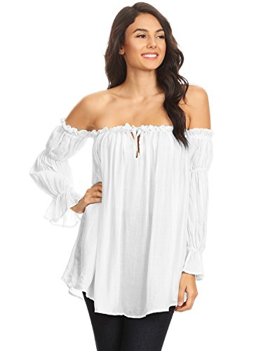 Anna-Kaci Womens Semi Sheer Boho Peasant Long Sleeve Off the Shoulder Top, White, Large (Blouse Costume Peasant)