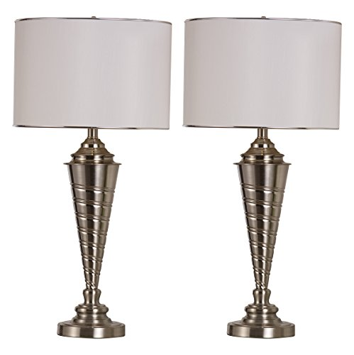 kings-brand-brush-nickel-with-white-fabric-shade-table-lamp-set-of-2