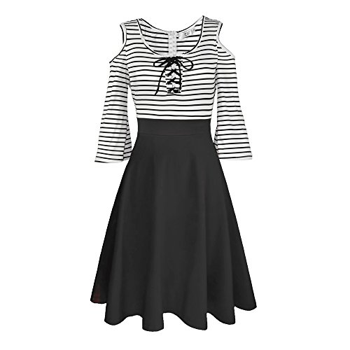 Dreaweet Vintage Women's Stripes Patchwork A-line 3/4 Flare Sleeve Cocktail Dress