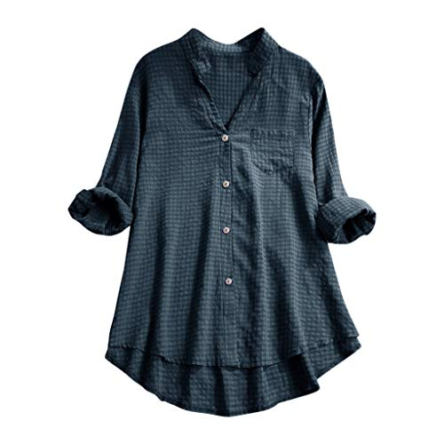 - HYIRI Women's Casual V Neck Loose Linen Performance Cotton Plus Size Plaid Button Tanic Shirt Blouse Tops Navy