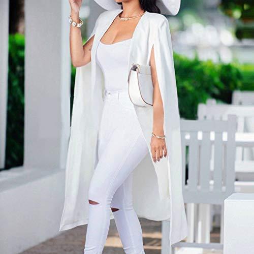 Pour Chic Manches Poncho Manteau Longues De Cardigan Fnkdor Blanc Veste Élégant Blazer Ouvert Femmes Cape À w40UxIqg