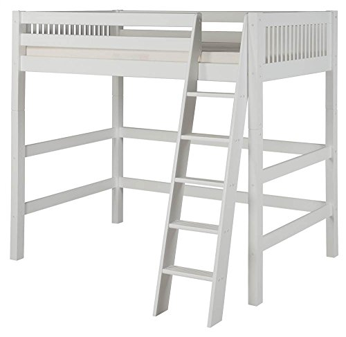Wood Loft Ladder (Camaflexi Mission Style Solid Wood High Loft Bed, Twin, Side Angled Ladder, White)