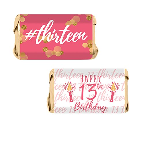 Girls 13th Birthday Party Mini Candy Bar Wrappers, Pink and Gold (54 Stickers)