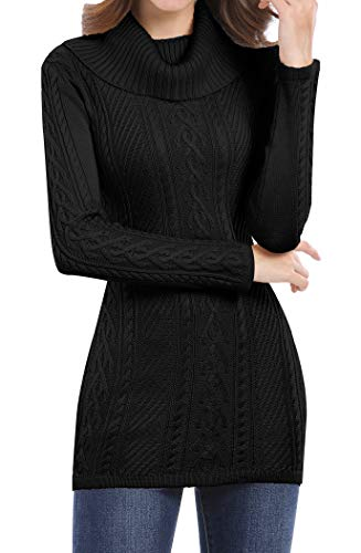 v28 Women's Korean Design Turtle Cowl Neck Ribbed Cable Knit Long Sweater Jumper (Long Black, Medium) (Jumper Black Long)