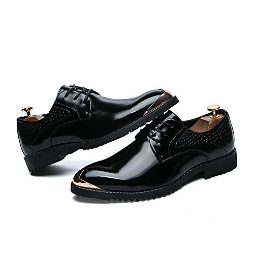 Business verniciate Personality Retro metallo amp;Baby Brush Sunny Resistente Colore metallo collisione in in Casual Men's con Nero Moda Scarpe all'abrasione Oxford punta Anti YxEwqAwH