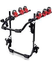 HOMCOM Portabicicletas Trasero Portón Plegable con Correas hasta 3 Bicis Soporte de Bici Universal Carga 40kg 68x52x60cm Acero y Aluminio