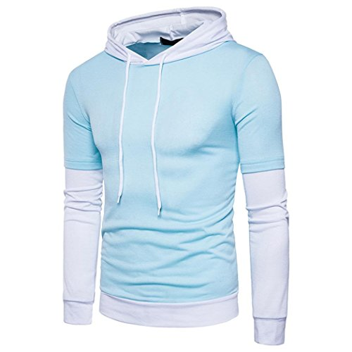 HOT ! YANG-YI Mens' Autumn Winter Solid Patchwork Hoodie Solid Hooded Sweatshirt Tops Blouse (Blue, S) by YANG-YI Mens (Image #1)