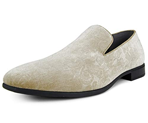 Bolano Mens Dress Shoes Velvet Smoking Slippers in Paisley and Embossed Designs, Style Prince Taupe