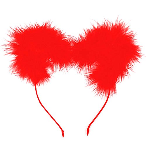 Red Care Bear Costume (Animal Ear Headband Hairband Halloween Cosplay Costume Accessory - Feathery Bear, Red)