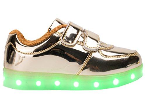 esllla Kleinkind / Kind Energy Light Up Schuhe LED Farbwechsel Jungen Mädchen blinkende Turnschuhe Gold B