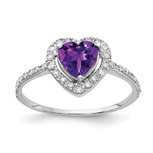 Bonyak Jewelry 14k White Gold 6mm Heart Amethyst AA Diamond Ring Amethyst Aa Diamond Ring