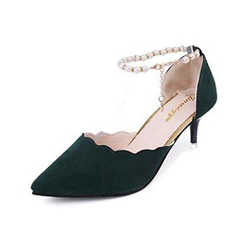 Zapatos de mujer PU Primavera Talones Bajo talón Punta estrecha para la boda Vestido informal Fiesta y noche Oficina y carrera al aire libre Negro Verde Rojo Rosa Green
