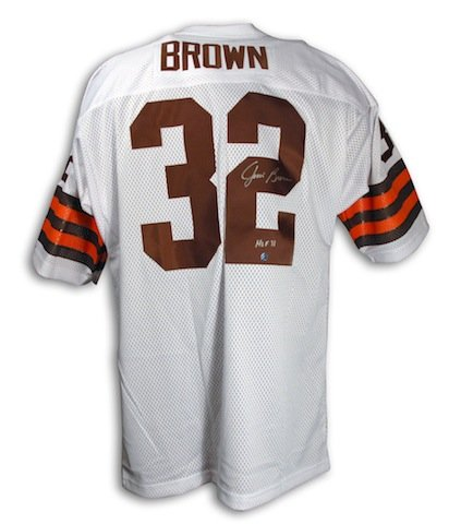 the latest 1794e a9507 Autographed Jim Brown Cleveland Browns Throwback White ...