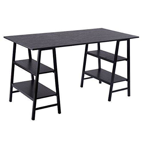 Tangkula 55'' Computer Desk PC Laptop Writing Table with Shelves Home Office Dom Furniture by TANGKULA