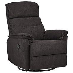 Living Room Amazon Brand – Ravenna Home Pull Recliner with 360-Degree Swivel Glider, Living Room Chair, 32″W, Dark Grey