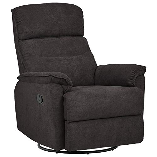 Ravenna Home Pull Recliner with Rotating 360 Swivel Glider,  Living Room Chair, Fabric, Dark Grey