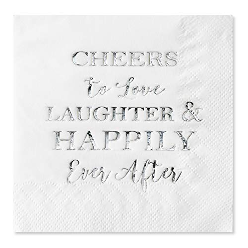 (Crisky Bridal Shower Silver Napkins Disposable Silver Cocktail Beverage Dessert Napkins for Wedding Shower Engagement Party Decorations, 100 Pcs, 3-Ply)