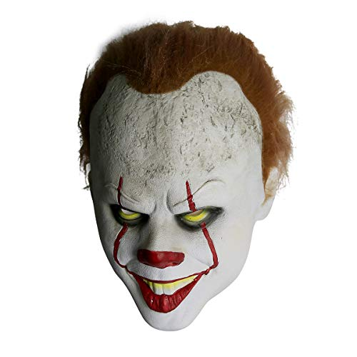 Scary Halloween Costumes For Two People (Halloween Pennywise Scary Clown Mask Costume,Cosplay Party Decoration Halloween Prop for Adult Children Toy Trick(It: Chapter)