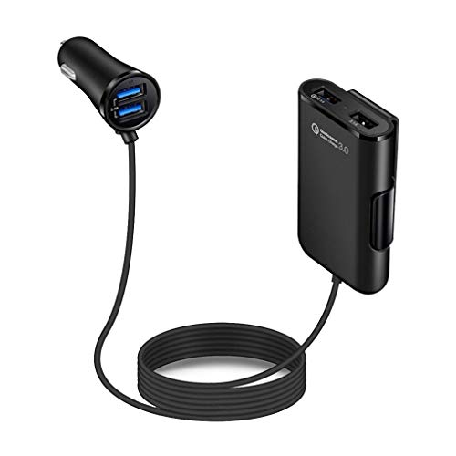 Tralntion 4 USB Ports Portable 3.0 Auto Fast Charging Charger 4U Charge Adapter Rear Seat Auto-Charger