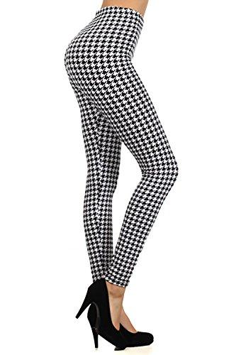 Houndstooth Pattern Graphic Print High Waist Leggings Pants Tights (Black) ()
