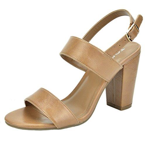 Pump Toe Mid Stella Open Nude pu Sandals Heel TOETOS Chunky Women's xIH05qw