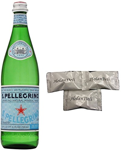 ( Pack of 3) San Pellegrino Sparkling Natural Mineral Water Glass Bottles 750ml. Includes Exclusive HolanDeli Chocolate Mints.