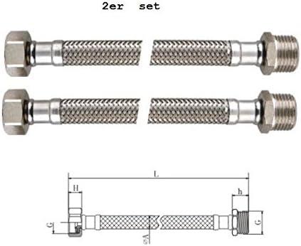 DN 8 Macho 1//2 BENE Latiguillo Inoxidable Conexion Flexible Homologaciones para agua potable ha KTW y aprobaci/ón DVGW 2 Piezas Hembra 3//8 Longitud 300mm