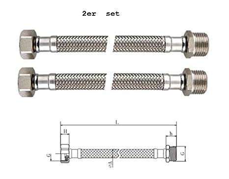 Homologaciones para agua potable ha KTW y aprobaci/ón DVGW Longitud 200mm BENE Latiguillo Inoxidable Conexion Flexible 2 Piezas Macho 3//8-Hembra 3//8 DN 8